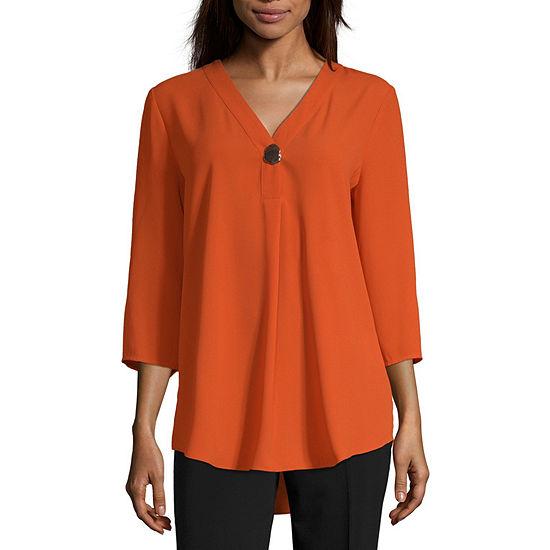 Worthington Womens V Neck 3/4 Sleeve Tunic Top