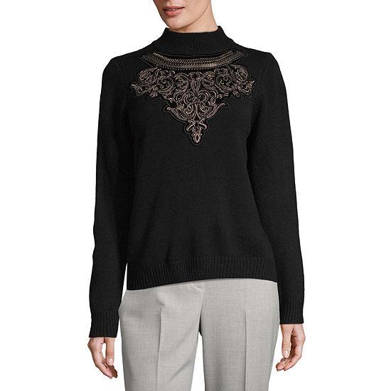 Worthington Womens Long Sleeve Embellished Mock Neck Sweater
