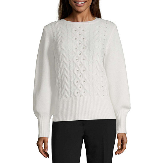 Worthington Womens Long Sleeve Peal Embellished Crew Sweater