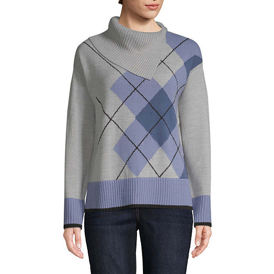 St. John's Bay Womens Turtle Neck Long Sleeve Argyle Pullover Sweater