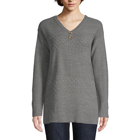 St. John's Bay Womens Henley Neck Long Sleeve Pullover Sweater