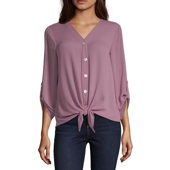Alyx Womens V Neck 3/4 Sleeve Blouse