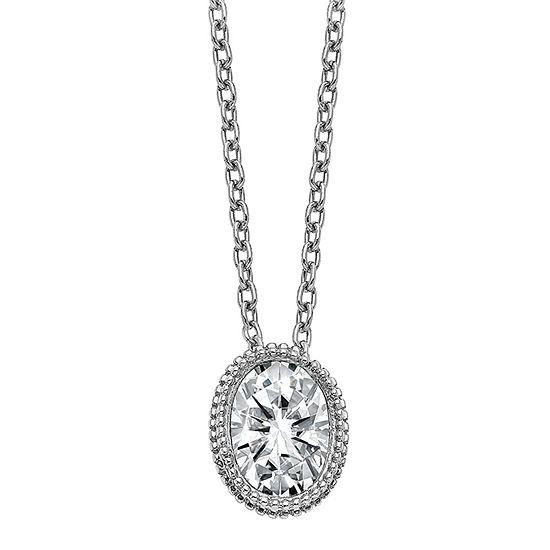 True Light Womens 1 1/3 CT. T.W. Lab Created White Moissanite 14K White Gold Pendant Necklace