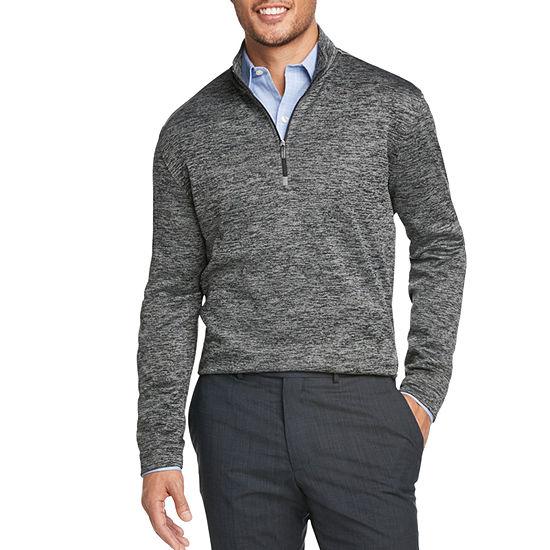 Van Heusen Mens Mock Neck Long Sleeve Quarter-Zip Pullover