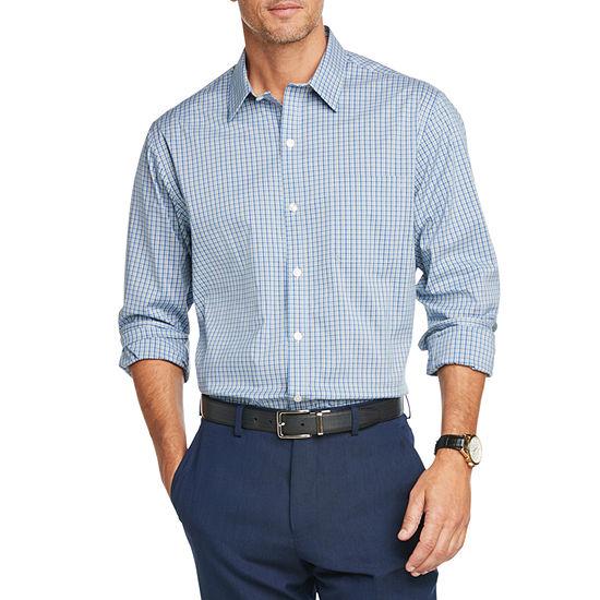 Van Heusen Traveler Mens Long Sleeve Plaid Button-Front Shirt
