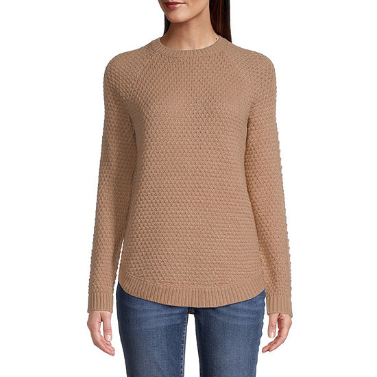 St. John's Bay-Tall Womens Crew Neck Long Sleeve Pullover Sweater