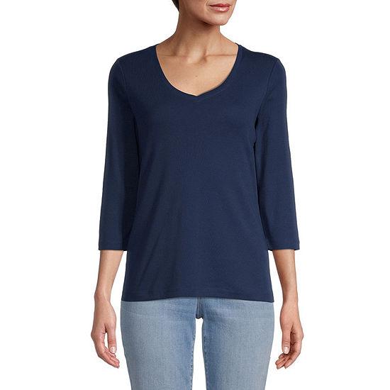St. John's Bay Womens Petite V Neck 3/4 Sleeve T-Shirt