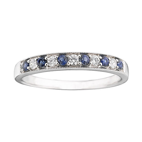 I Said Yes 1 8 Ct Tw Certified Diamond Blue Genuine And Lab Created Sapphire Milgrain Band