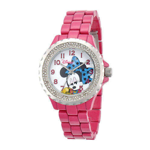 Disney Minnie Mouse Womens Pink Enamel Watch with Crystals