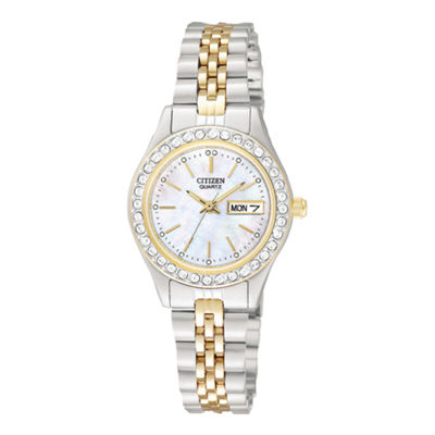 Citizen Quartz Womens Two Tone Bracelet Watch-Eq0534-50d