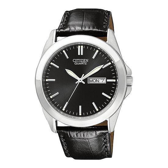 Citizen Quartz Mens Black Strap Watch-Bf0580-06e