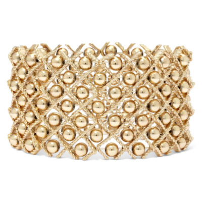 Gold-Tone Bead Stretch Bracelet
