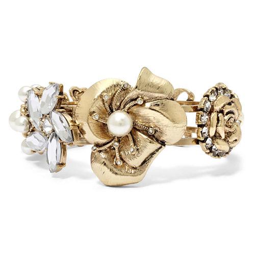 Blingy Floral Hinged Bracelet