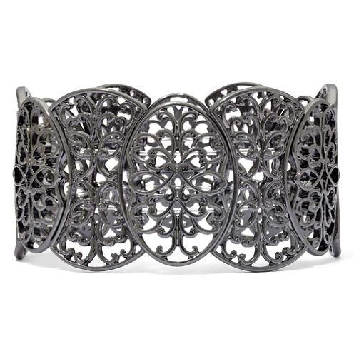 Dark Gray Filigree Stretch Bracelet