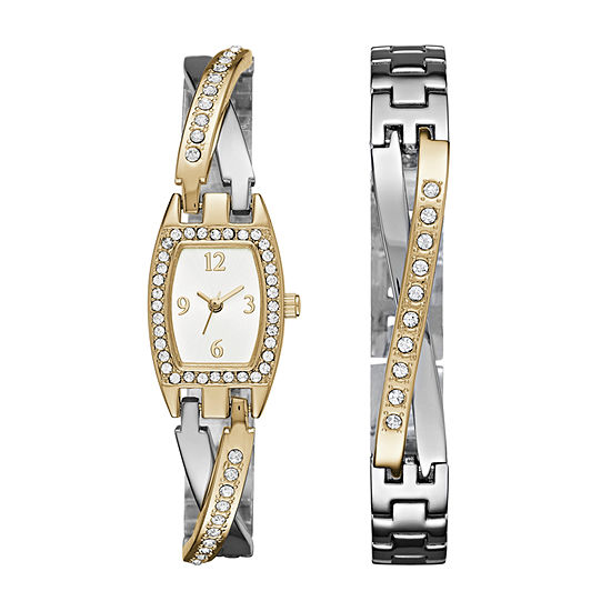 Geneva Womens Two-Tone Bangle Watch Boxed Set