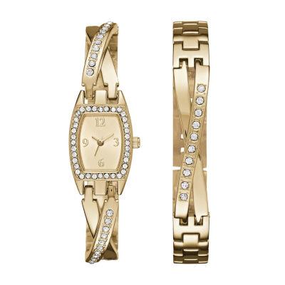 Geneva Womens Gold-Tone Bangle Watch Boxed Set