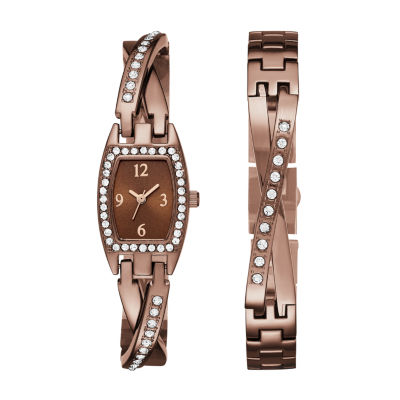Geneva Womens Brown Bangle Watch Boxed Set
