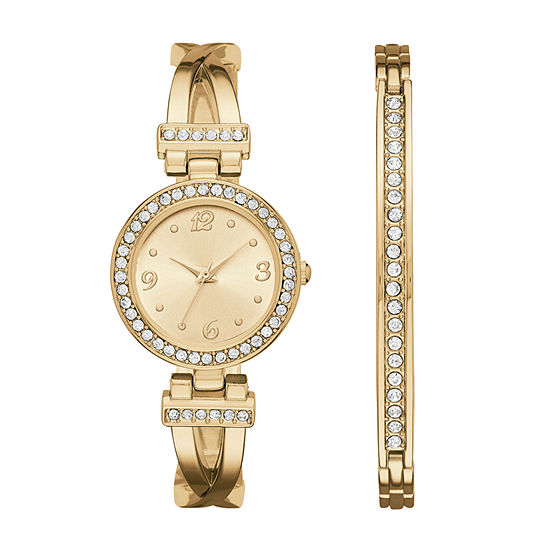 Geneva Womens Gold-Tone T-Bar Bangle Watch Boxed Set