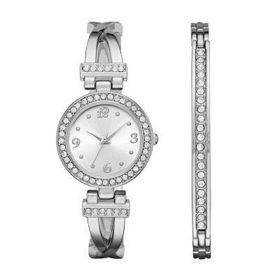 Geneva Womens Silver-Tone T-Bar Bangle Watch Boxed Set