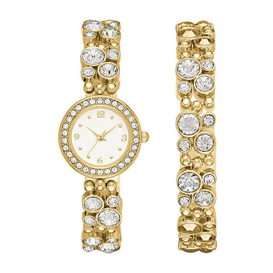 Geneva Womens Gold-Tone Glitz Watch Boxed Set