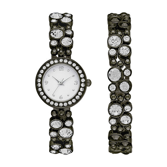 Geneva Womens Black Glitz Watch Boxed Set