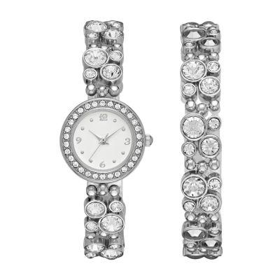 Geneva Womens Silver-Tone Glitz Boxed Watch Set