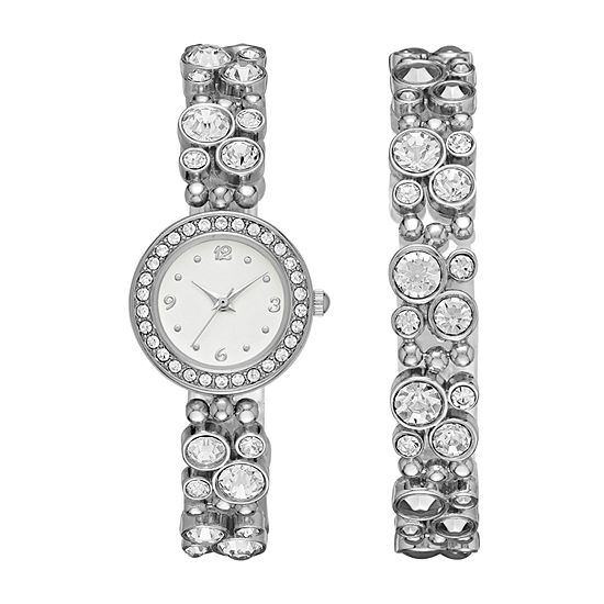 Geneva Womens Silver-Tone Glitz Boxed Watch Set