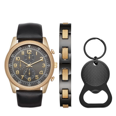 Fashion Watches Mens Black Strap Watch Boxed Set