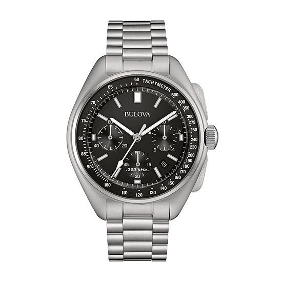 Bulova Lunar Pilot Mens Chronograph Silver Tone Stainless Steel Bracelet Watch-96b258