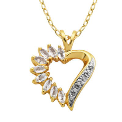 Sparkle Allure Womens Genuine White Heart Pendant Necklace