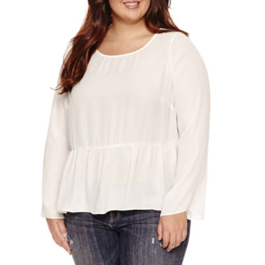 Decree Long Sleeve Round Neck Blouse-Juniors Plus