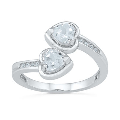 Womens Genuine White Diamond Sterling Silver Cocktail Ring