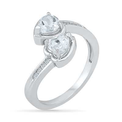 Womens White Diamond Sterling Silver Cocktail Ring