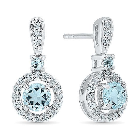 1/4 CT. T.W. Genuine Blue Aquamarine Sterling Silver Drop Earrings