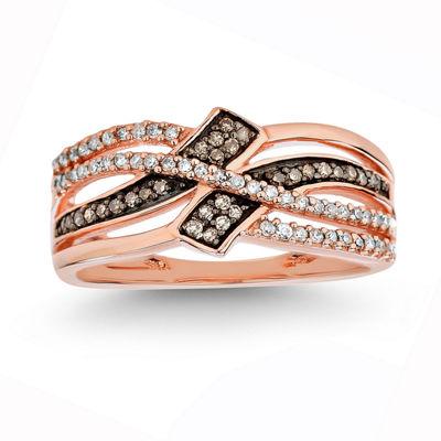 Fine Jewelry Womens 1/4 CT. T.W. White Diamond 10K Gold Cocktail Ring e9yON