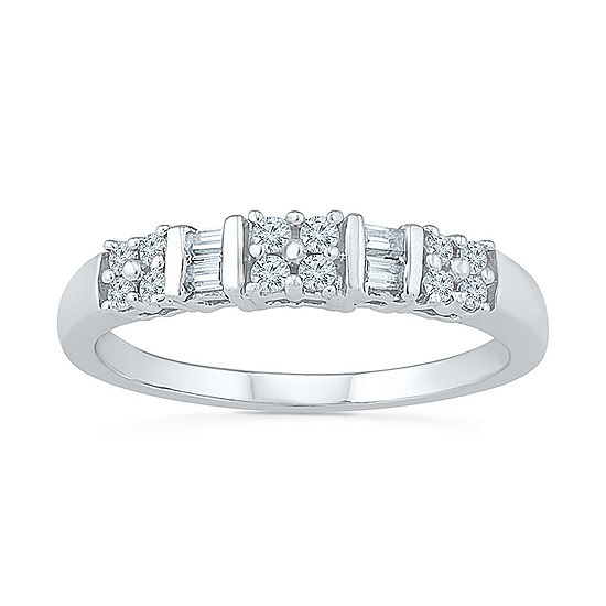 Womens 2 Mm 1/4 CT. T.W. Genuine White Diamond Sterling Silver Band