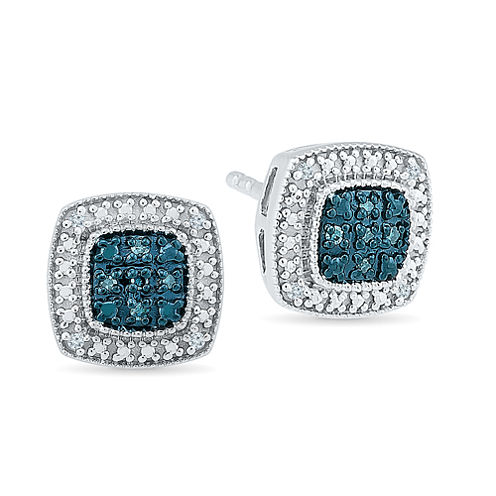 Round Blue Diamond Accent Sterling Silver Stud Earrings