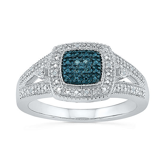Womens Diamond Accent Genuine Blue Diamond Sterling Silver Cocktail Ring