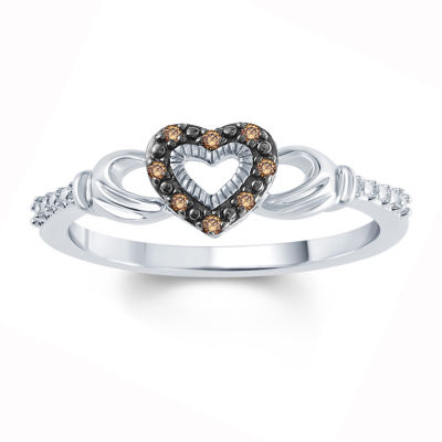 Womens Diamond Accent Genuine Champagne Diamond Sterling Silver Side Stone Ring