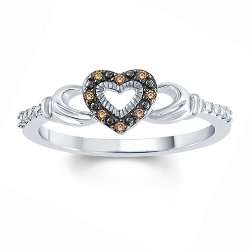 Womens Diamond Accent Genuine Champagne Diamond Accent Sterling Silver Side Stone Ring