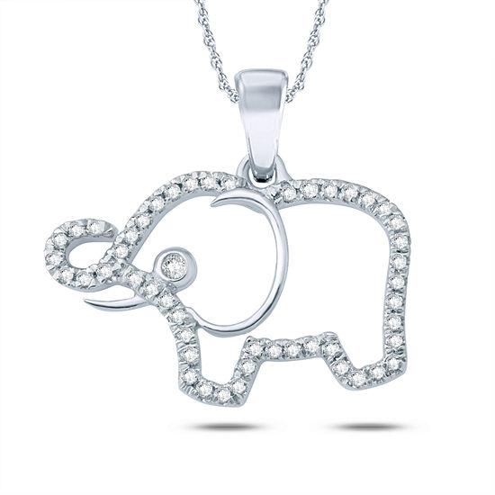 Womens 1/6 CT. T.W. Genuine White Diamond Sterling Silver Animal Pendant Necklace