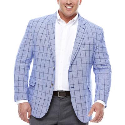 Stafford Linen Cotton Bright Blue Windowpane Sport Coat- Big and Tall