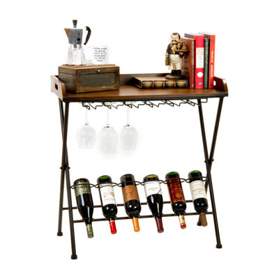 6-Bottle Folding Metal Wine Table With Removable Wood Serving Tray