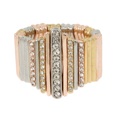 Worthington Womens Clear Brass Round Cocktail Ring