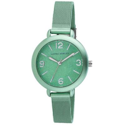 Laura Ashley Womens Green Strap Watch-La31040nd