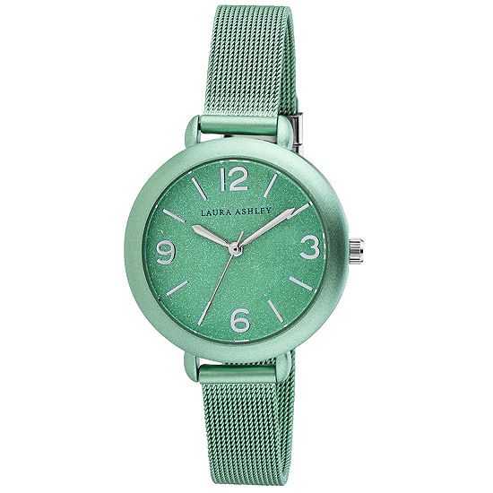 Laura Ashley Womens Green Stainless Steel Strap Watch-La31040nd