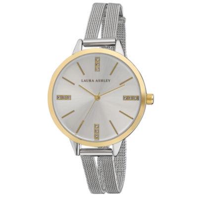 Laura Ashley Womens Silver Tone Strap Watch-La31054tt