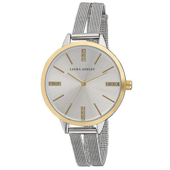 Laura Ashley Womens Silver Tone Stainless Steel Strap Watch-La31054tt