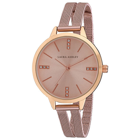 Laura Ashley Womens Pink Stainless Steel Strap Watch-La31054pk