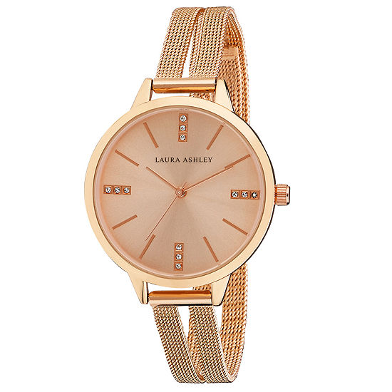Laura Ashley Womens Stainless Steel Strap Watch-La31054rg